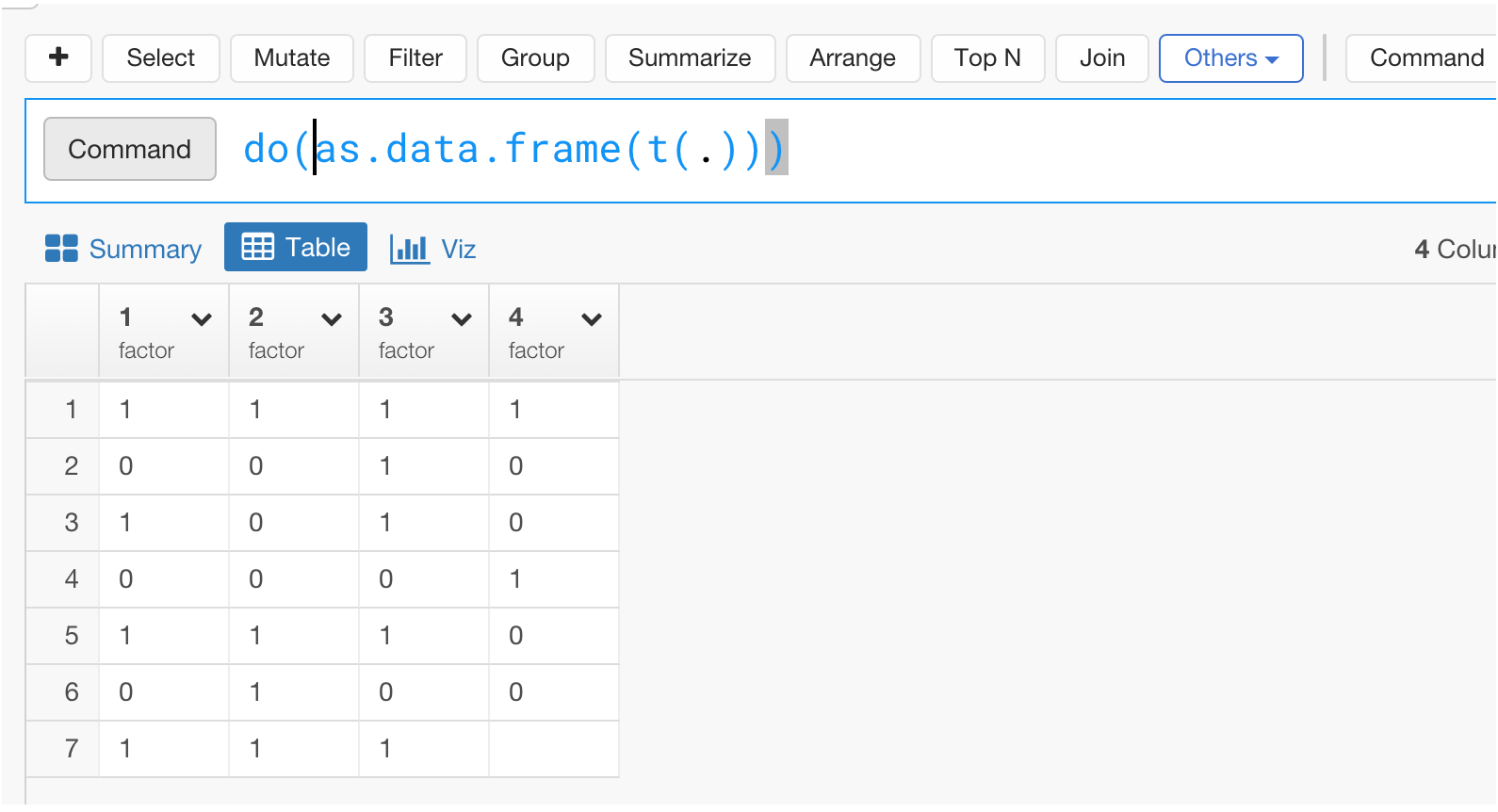 How to transpose data frame using t() function in Exploratory ...
