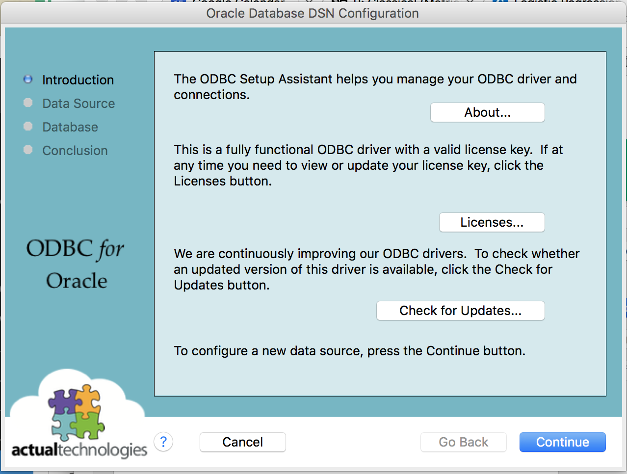 Connecting to Oracle Database through ODBC from Mac