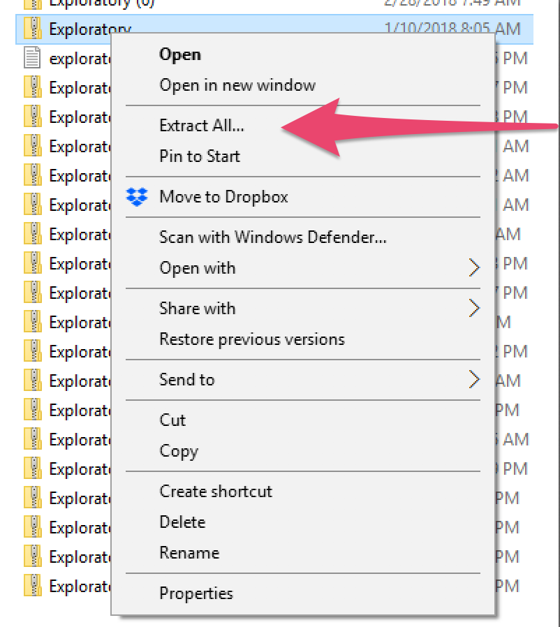 Exploratory on Windows not starting up after unzipped by 9zip