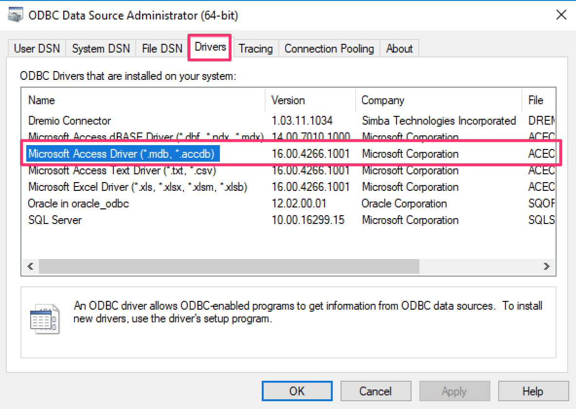 Windows] How to import Data from Microsoft Access Database with ODBC