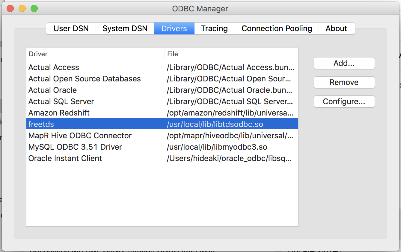 Connecting to MS SQL Server through ODBC from Mac