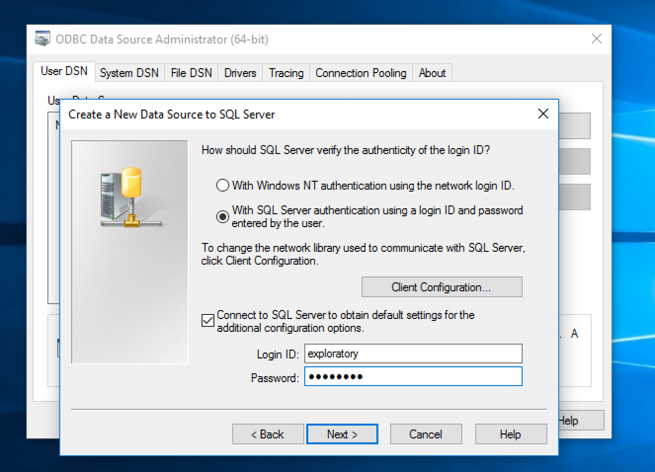 Connecting to MS SQL Server through ODBC from Windows - Exploratory
