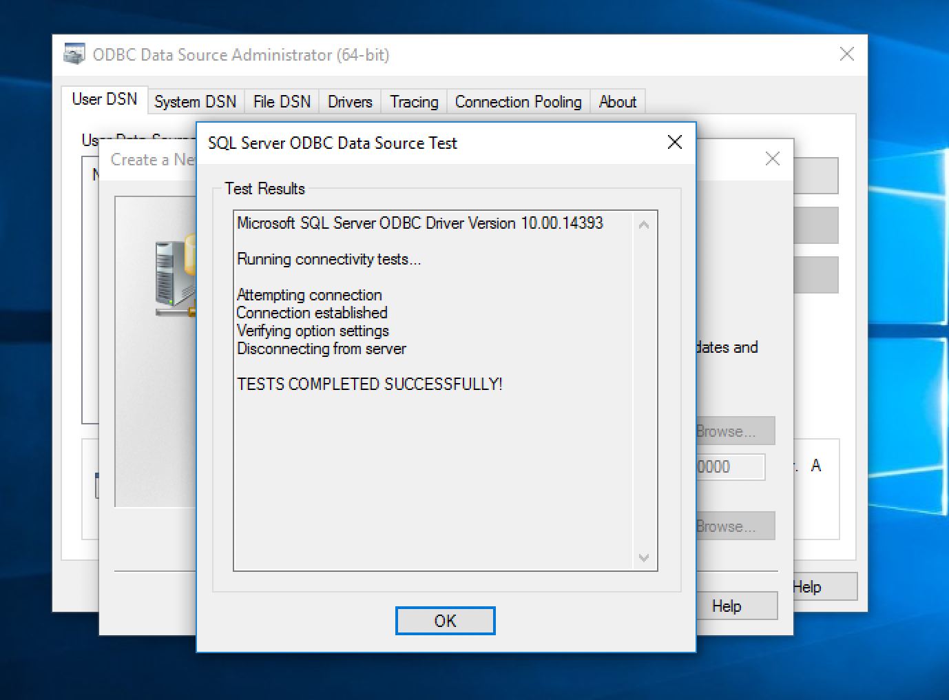 Connecting to MS SQL Server through ODBC from Windows
