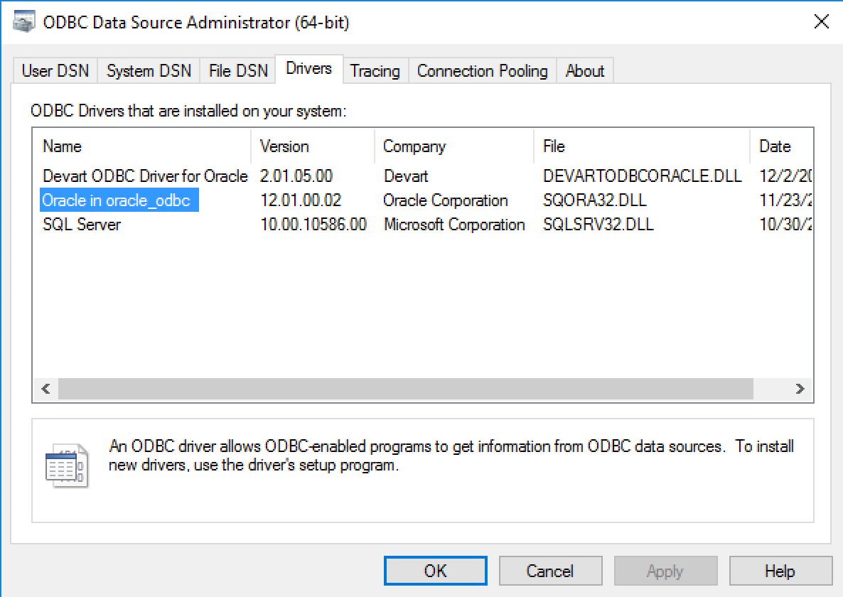 Connecting to Oracle Database through ODBC from Windows with